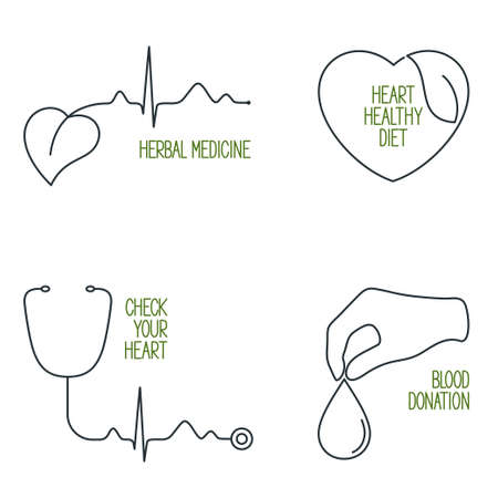 prophylaxe: Set of linear medical icons and emblems for cardiology, heart health care and blood donation
