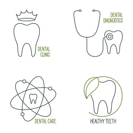 prophylaxe: Set of linear medical icons and emblems for teeth health care, dentistry and dental clinic