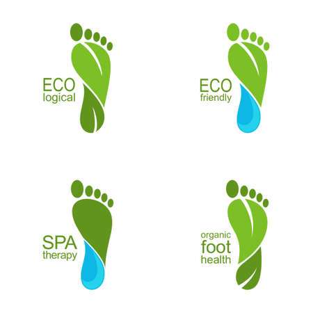 feet: Set of footprints of green leaves and water drops for ecology, organic health and beauty care design Illustration
