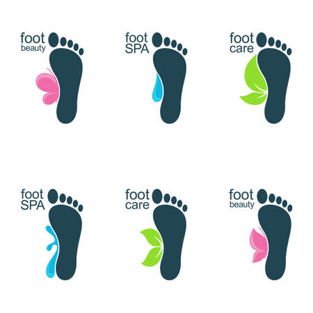 Set of foot icons with water drops, butterflies and leaves for SPA, organic beauty and health care or ecology design