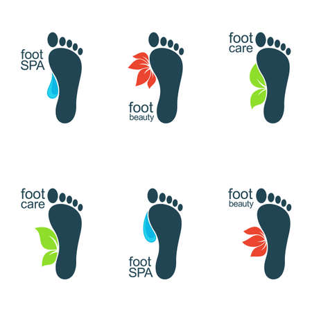 Set of foot icons with water drops, flowers and leaves for SPA, organic beauty and health care or ecology design Illustration