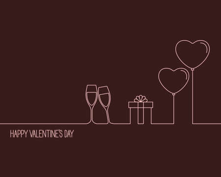 Linear style design for Valentines Day card with wine glasses, gift box and heart shaped balloons