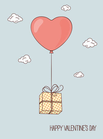 Surprise: Balloon in shape of heart with gift box in the sky