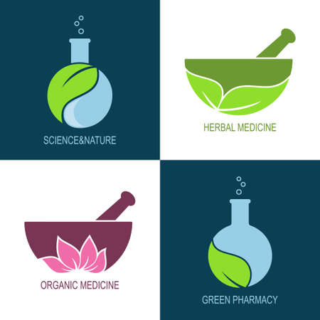 herbal: Set of icons and emblems for green pharmacy and herbal medicine