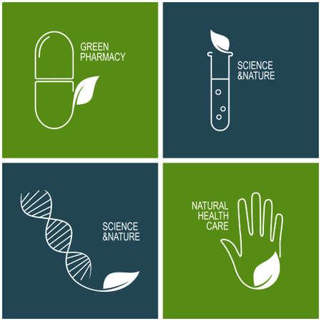 Set van pictogrammen en emblemen voor groene apotheek, natuurlijke gezondheidszorg en kruidengeneeskunde