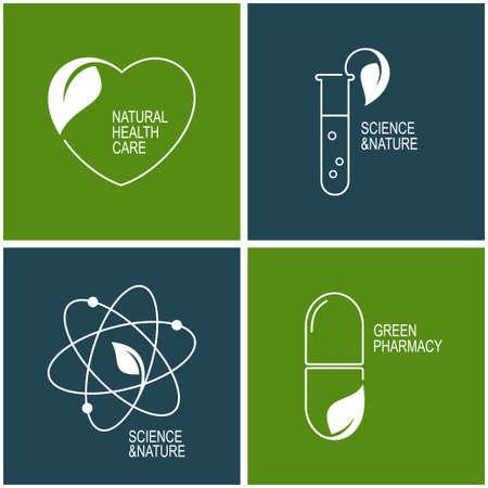 Conjunto de iconos y emblemas para la farmacia verde, cuidado de la salud natural y la medicina herbal