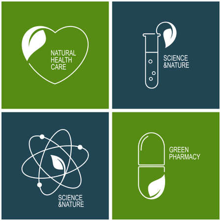 natural health: Set of icons and emblems for green pharmacy, natural health care and herbal medicine