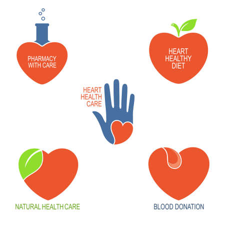 care symbol: Set of icons and emblems with heart symbol for health care, cardiology, pharmacy and blood donation Illustration