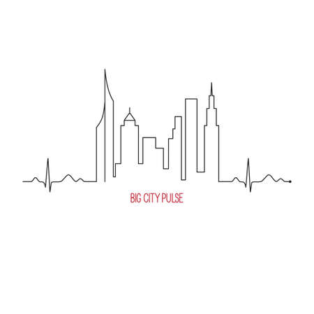 City pulse concept with cardiogram and skyscrapers skyline Ilustracja