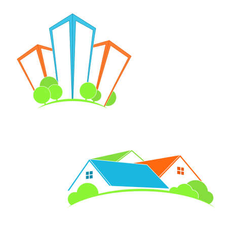 home town: Stylized icons with skyscrapers and houses for real estate, friendly city, home town and suburb