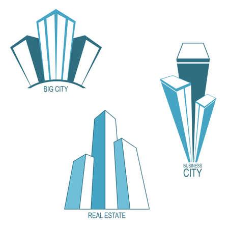 alto: Conjunto de iconos estilizados rascacielos y emblemas de los bienes raíces, ciudad moderna, la arquitectura de diseño Vectores