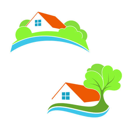 suburb: Stylized house icons for real estate, eco friendly house, suburb and countryside home