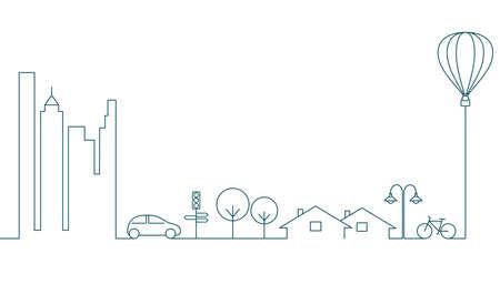 concepto de ciudad moderna en el diseño de estilo lineal