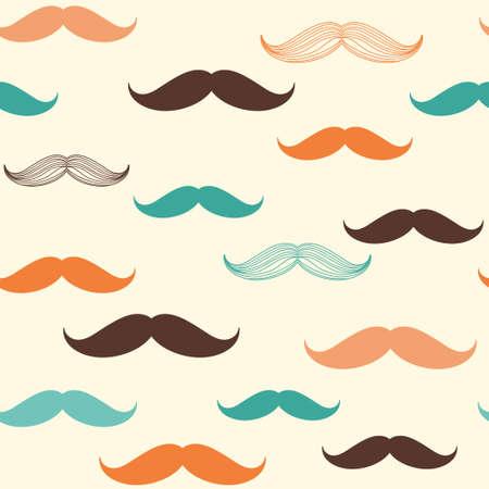 ヴィンテージ、レトロ、流行に敏感なスタイルでデザインの口髭のシームレス パターン