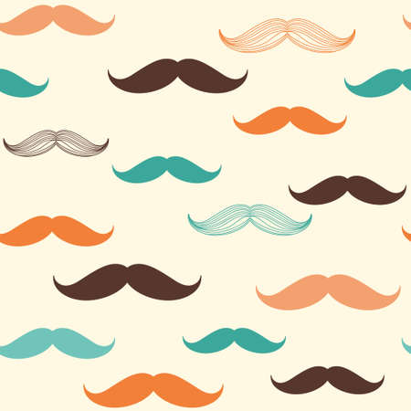Seamless pattern with mustache for design in vintage, retro, hipster style