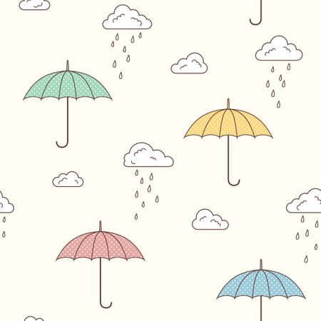 monsoon clouds: Seamless pattern with cute umbrellas, clouds and rain drops