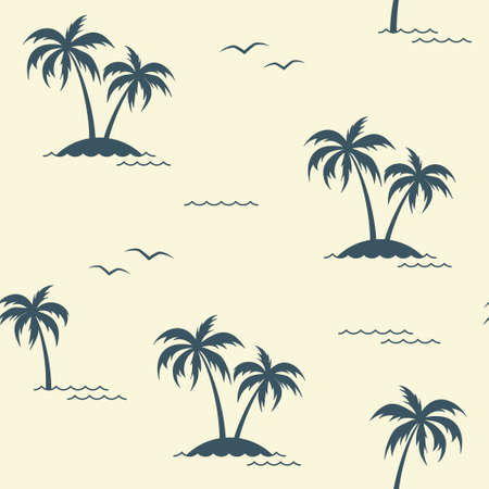 seagulls: Seamless pattern with palm trees and seagulls