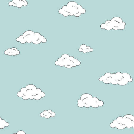 Seamless pattern with cute doodle clouds