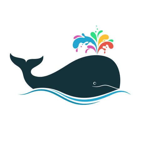 biological: Whale with multicolored fountain blow for creativity, diversity, joy, imagination concept Illustration