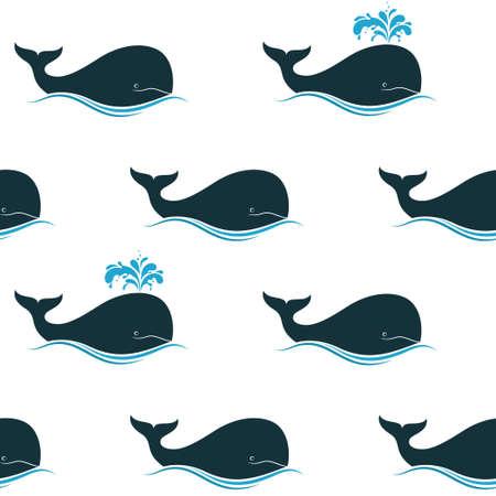 orificio nasal: Patrón sin fisuras con las ballenas y sus chorros de soplado