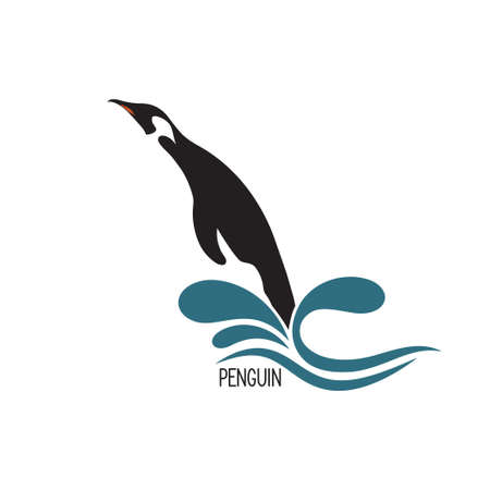 endangered species: Stylized image of penguin jumping out of water