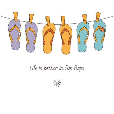 flipflops: Cute flip-flops hanging on clothesline for summertime design Illustration