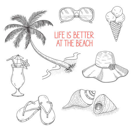 Set of icons and design elements for summer holidays and beach rest in hand drawn style Illustration