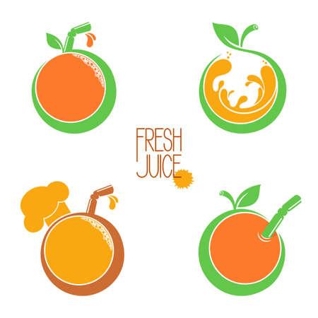 Set van pictogrammen, emblemen en design elementen voor groenten en fruit, vers geperst sap of juice bar menu
