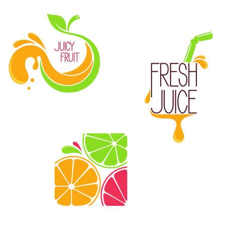 Zestaw ikon, emblematów i elementów konstrukcyjnych dla owoców i warzyw, świeżo wyciśnięty sok lub sok pasek menu