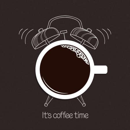 good break: Cup of coffee with hand drawn alarm clock over blackboard background. Break time, good morning, drinks menu design concept