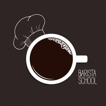 barista: Cup of coffee with hand drawn chef hat over blackboard background. Barista or drinks menu concept