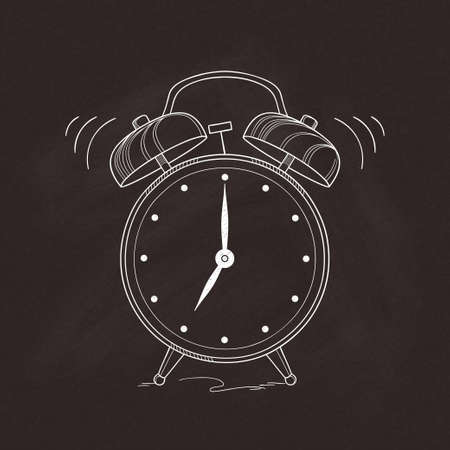 Old fashioned alarm clock hand drawn over chalkboard texture Illustration