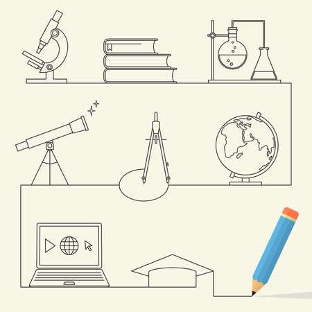 globe terrestre dessin: Ensemble d'icônes de style linéaire pour le concept de l'éducation
