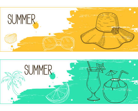 resorts: Banners with  elements over brush strokes and paint splashes grunge background for summertime holidays and resorts design