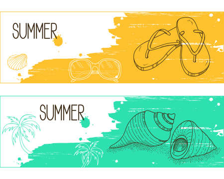 resorts: Banners with hand drawn elements over brush strokes and paint splashes grunge background for summertime holidays and resorts design Illustration