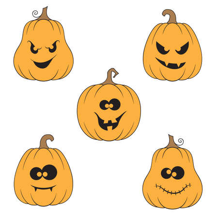 Set of pumpkins with creepy, crazy and funny faces for Halloween design Illustration
