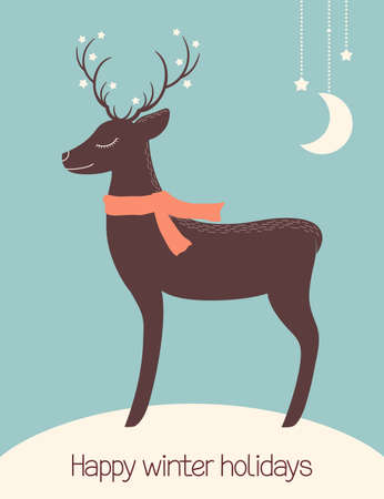 cute cards: Winter holidays greeting cards with cute Christmas deer Illustration