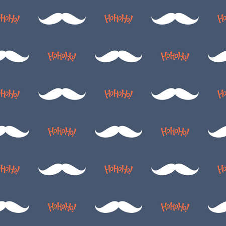 ho: Seamless pattern with Santa Claus mustache and Ho Ho Ho! lettering for Christmas design Illustration