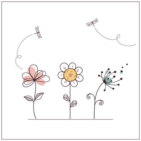 Hand drawn doodle flowers set with dragonflies Illustration