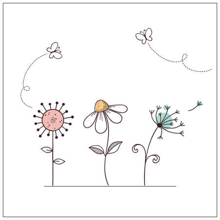 oxeye: Hand drawn doodle flowers set with butterflies