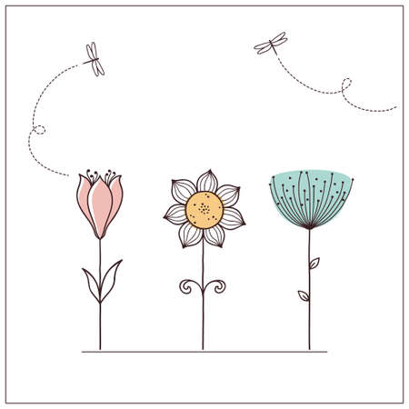 oxeye: Hand drawn doodle flowers set with dragonflies Illustration