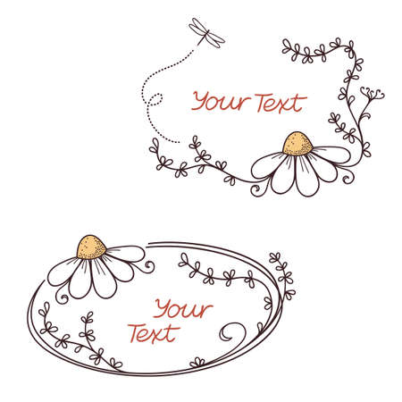 oxeye: Hand drawn doodle floral frames with chamomile flower Illustration