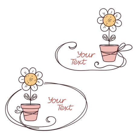 oxeye: Hand drawn doodle text frames with stylized flower in pot
