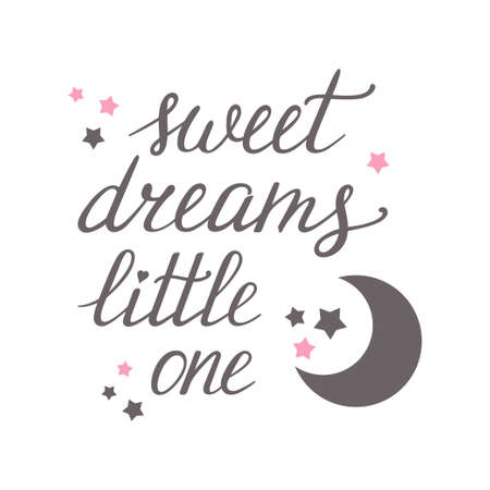 Sweet dreams Little one hand lettering with moon and stars