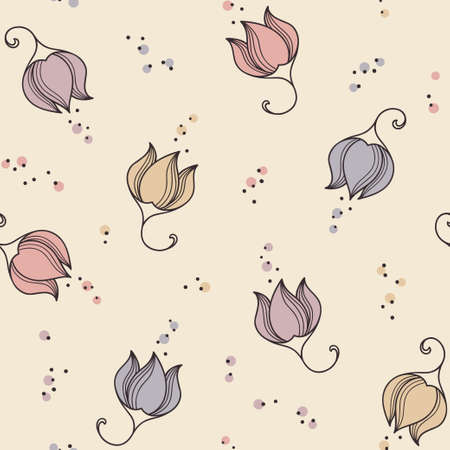 patrones de flores: Romantic floral seamless pattern with hand drawn flowers Vectores