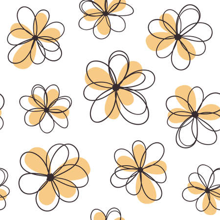 seamless patterns: Floral seamless pattern with funny doodle flowers