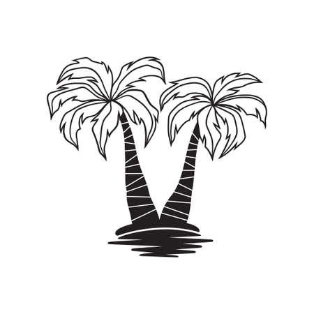Palmiers stylés au dessus de l'eau, illustration vectorielle Banque d'images - 78696235
