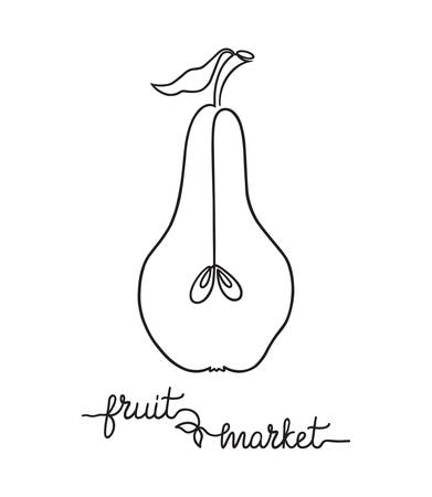 pedicle: Stylized drawing of pear in one continuous line and Fruit market hand lettering
