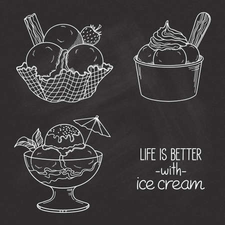 Ensemble de crème glacée dessinés à la main servie dans des bols de verre, de gaufre et de papier sur la texture de tableau