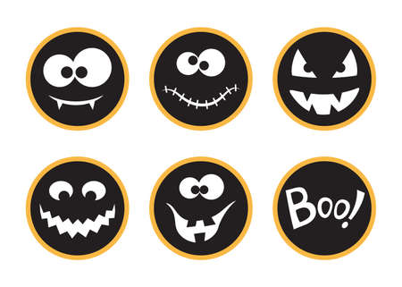 Set of round Halloween tags and labels with creepy faces and Boo! Lettering